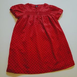 Baby Gap Girls red and black polka dot dress 3T